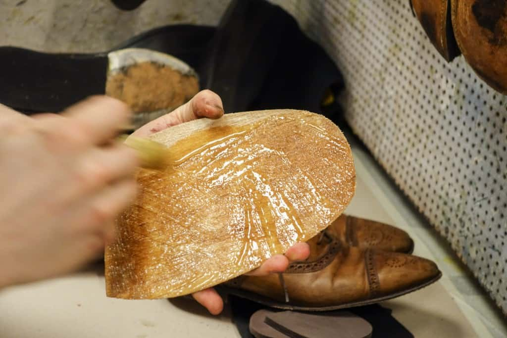 Outsole and midsole on the shoe is glued.