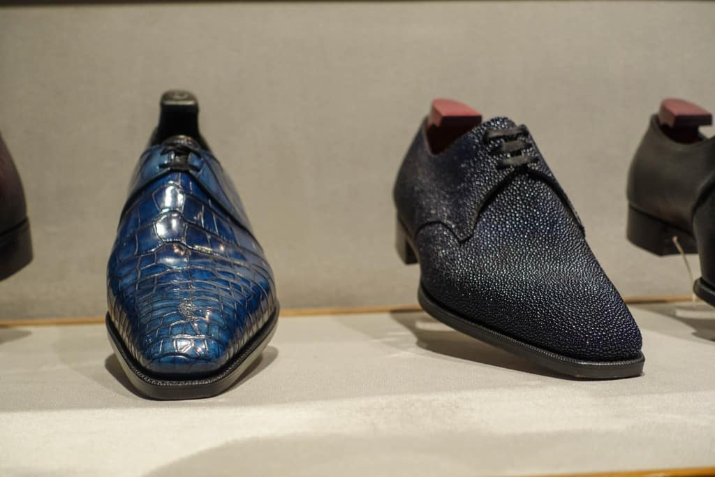 Derbys in exotics, left in alligator and right in stingray.