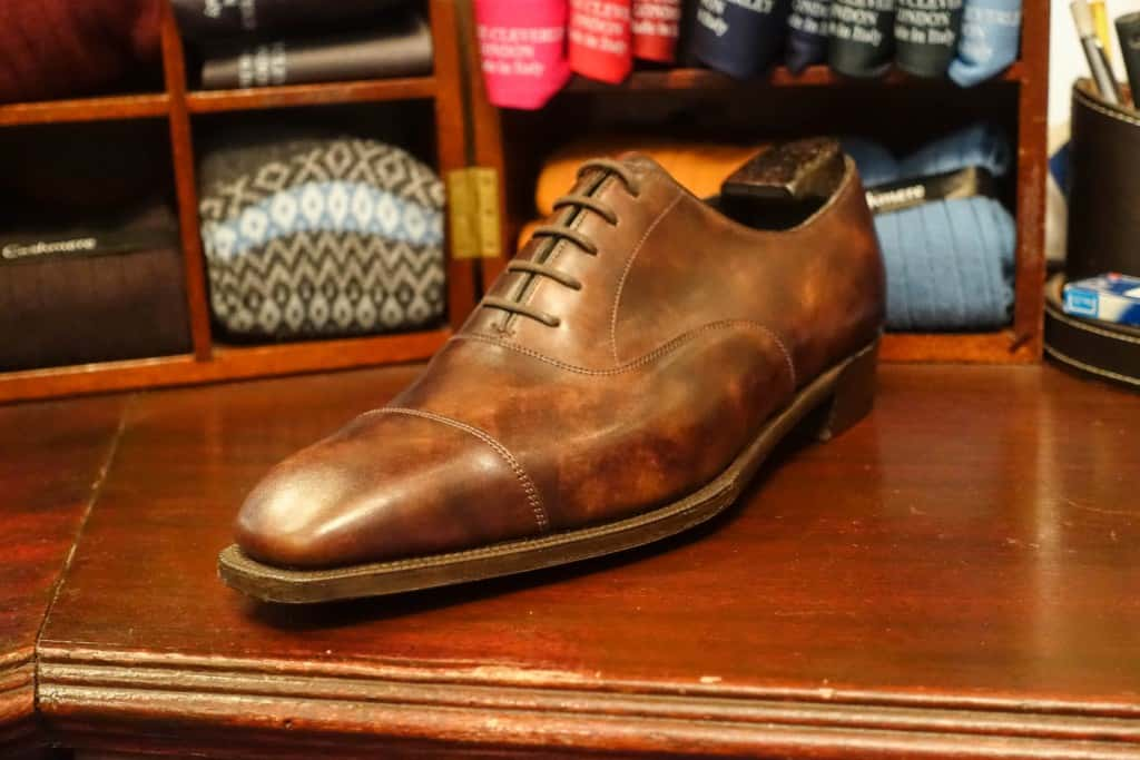 Beautiful oxford in so called museum calf leather, from the Anthony Cleverley range.