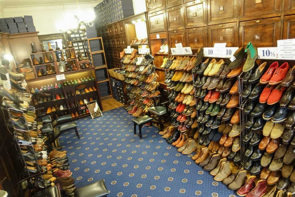 As you can see the shop is rather small, and since my visit to London was during the summer sale period, a lot of sale shoes were provisonally placed.
