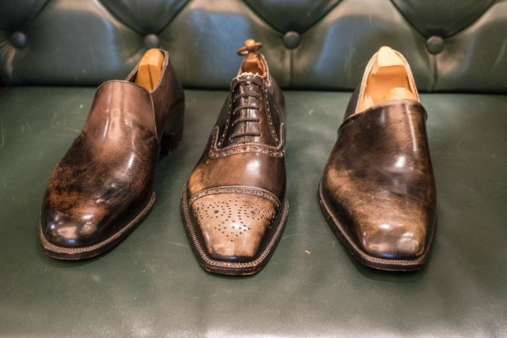 Bespoke samples with a natural bleached patina from decades in the shop window. The shoe in the middle is over 70 years old.