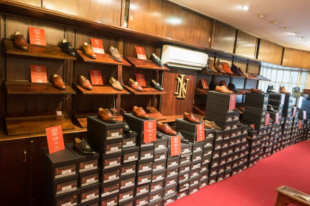 Not the regular look inside New & Lingwood, since piles of sale shoes was taking up the floors.