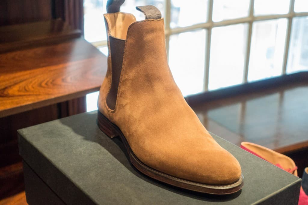 A nice bright colored chelsea boot.