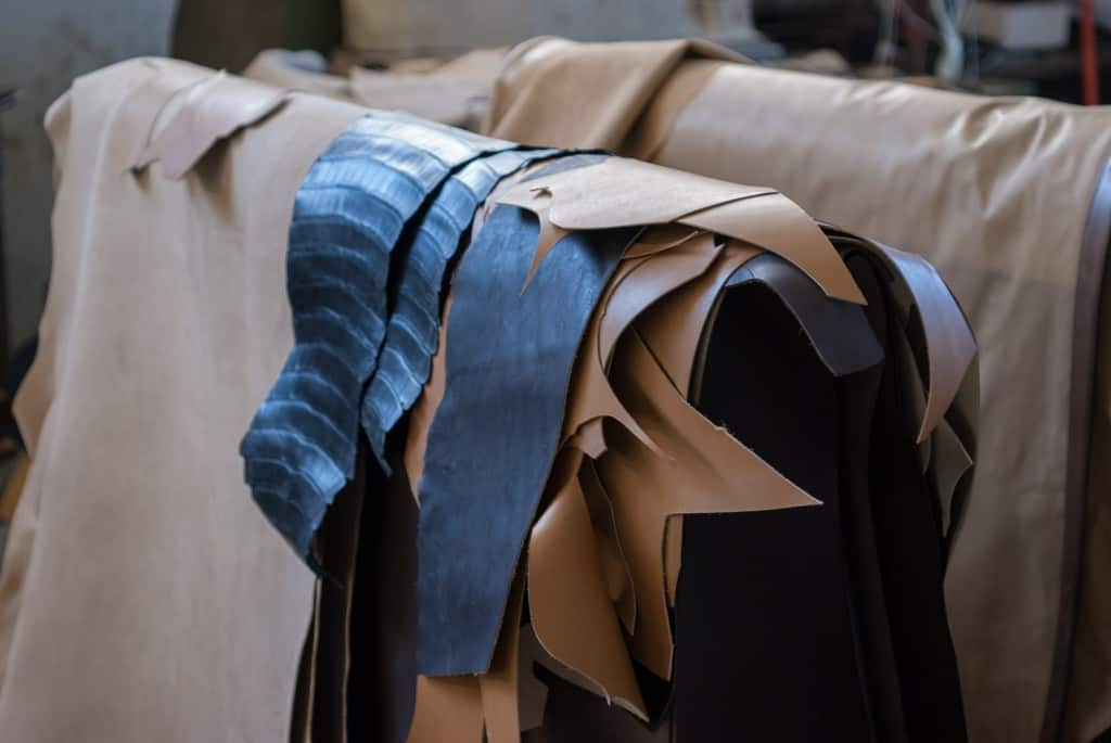 Different types of hides. The thin ones are lining leather.