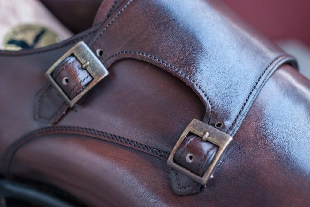Brass buckles with an antique look.