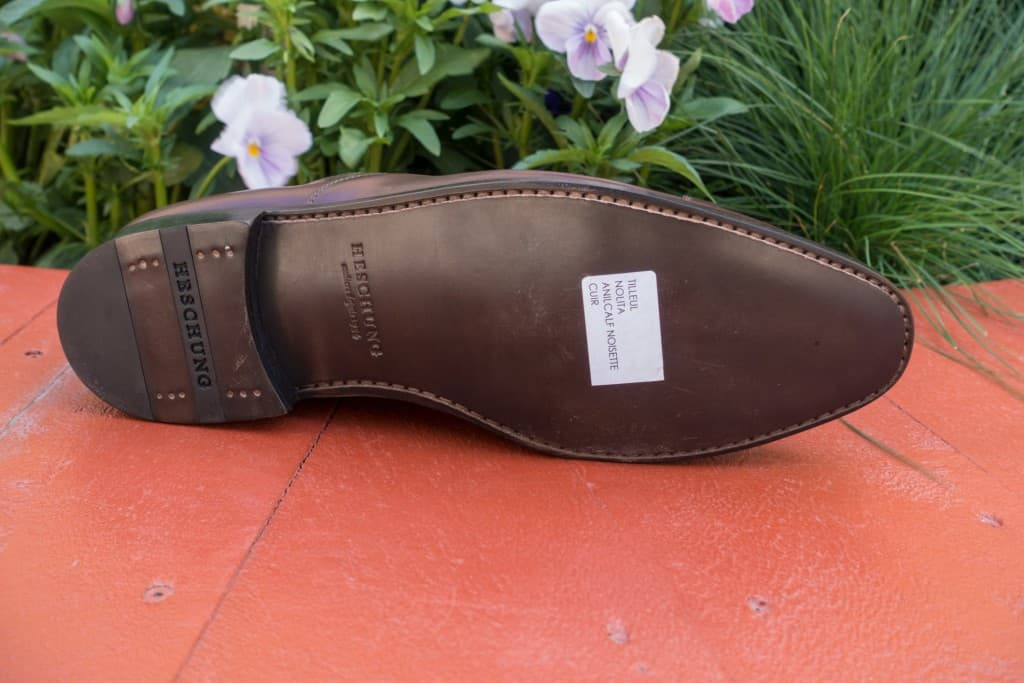 A regular single leather sole on a Goodyear welted model.