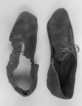 The shoes the Bocksten man wore, where especially the right shoe was well preserved.