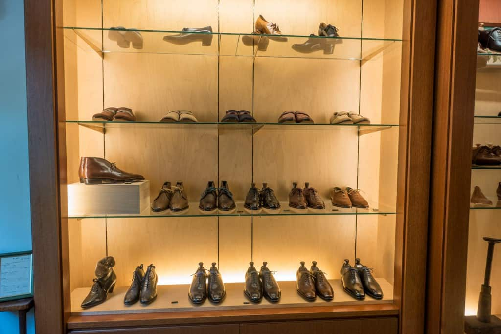 The complete RTW range, with the models made by Joe Works on the two bottom rows, and another range with casual loafers above them which have been around for a while. At top some women's bespoke samples.
