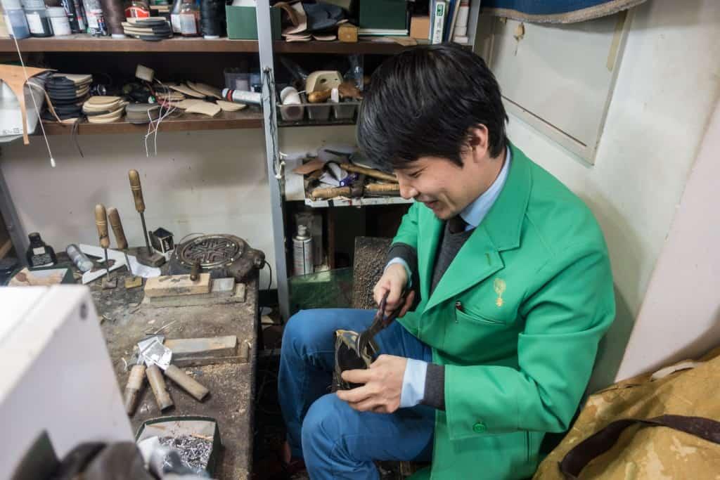 Keitaro at his workplace.