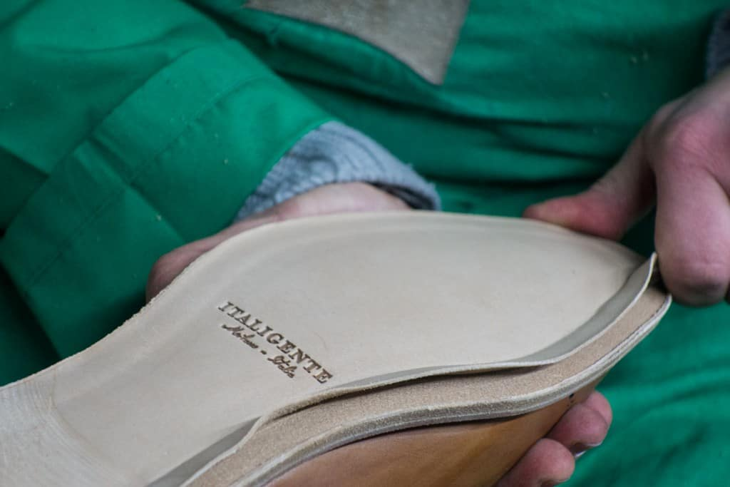 The pre-cut flap is opened. Here you have soles in different sizes and the flap goes a long way into the sole to make it work for many different shoes.