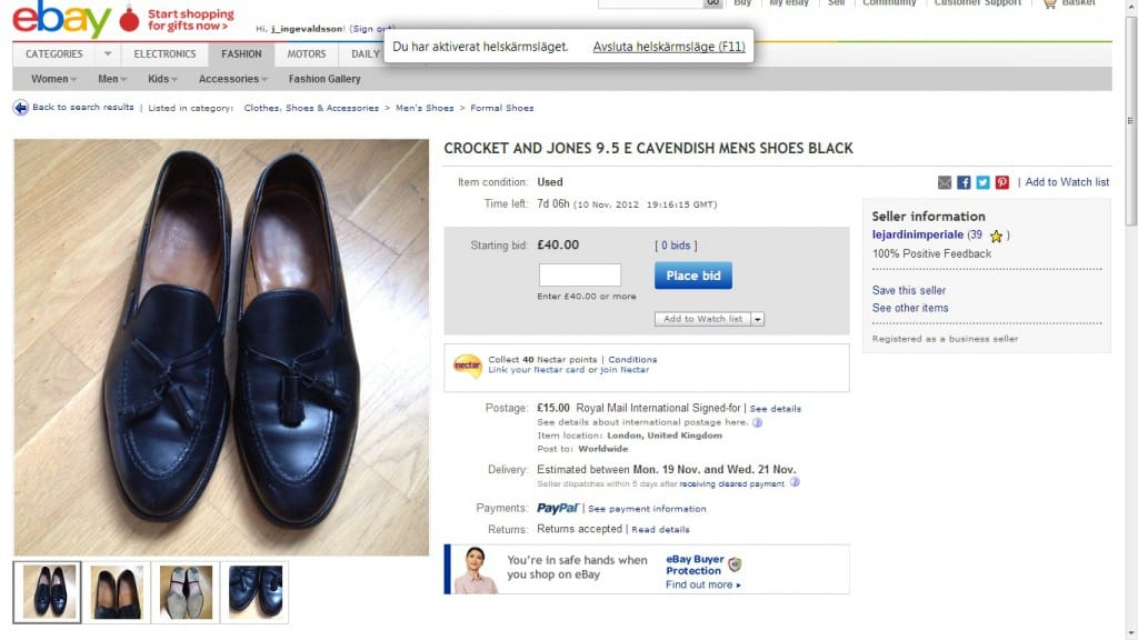 An example where the seller has misspelled Crockett & Jones in the auction ad.