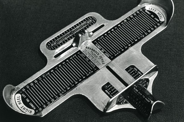 A Brannock device measures the length and widht of the foot, as well as the heel to ball measurement. Picture: