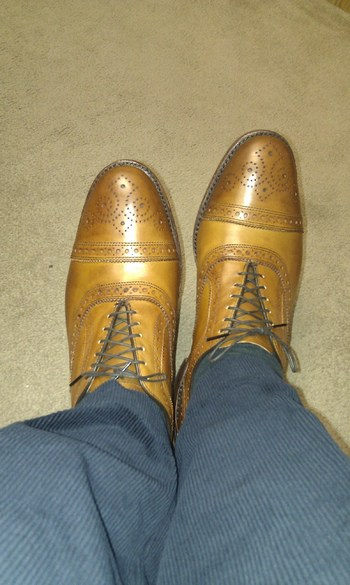 This is how bad it can look if a person with a high instep buy oxford shoes with a low instep. Picture: StyleForum