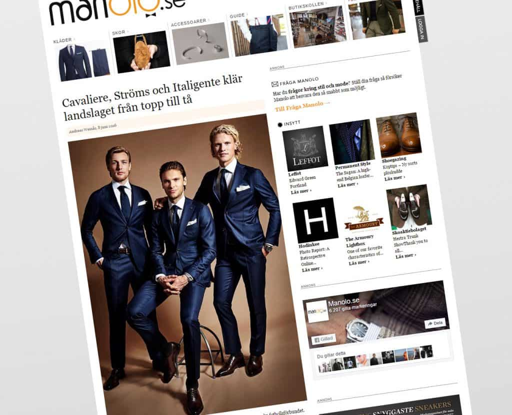 An article on the Swedish menswear site Manolo about the Sweden National Football Team's dress outfit, with three of the players dressed up. Picture: Manolo