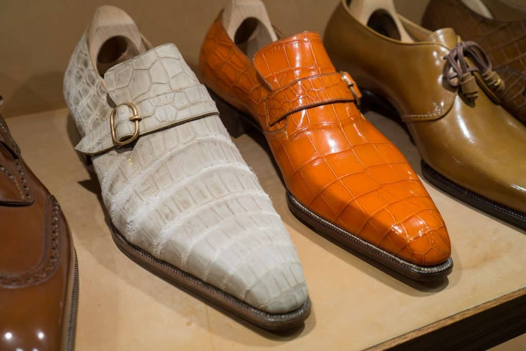 Single monks in some unusual colours of alligator leather.