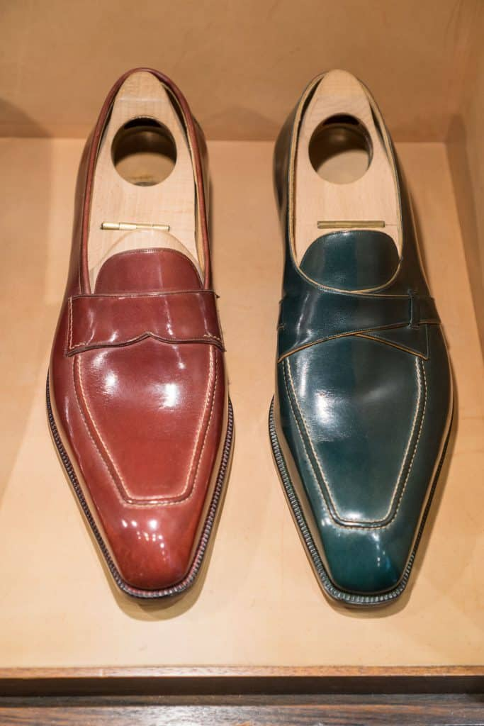 Two loafer styles, both in the same muted colours that several of his shoes are made in.