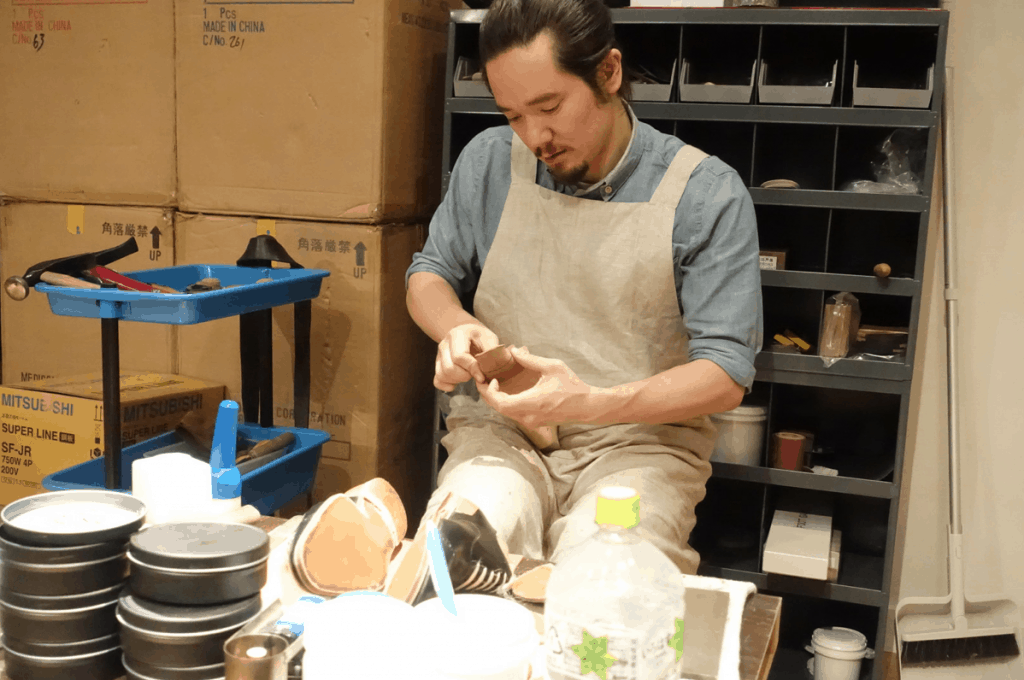 The bespoke shoemaker Seiji McCarthy, the latest addition to WFG's workshop space.