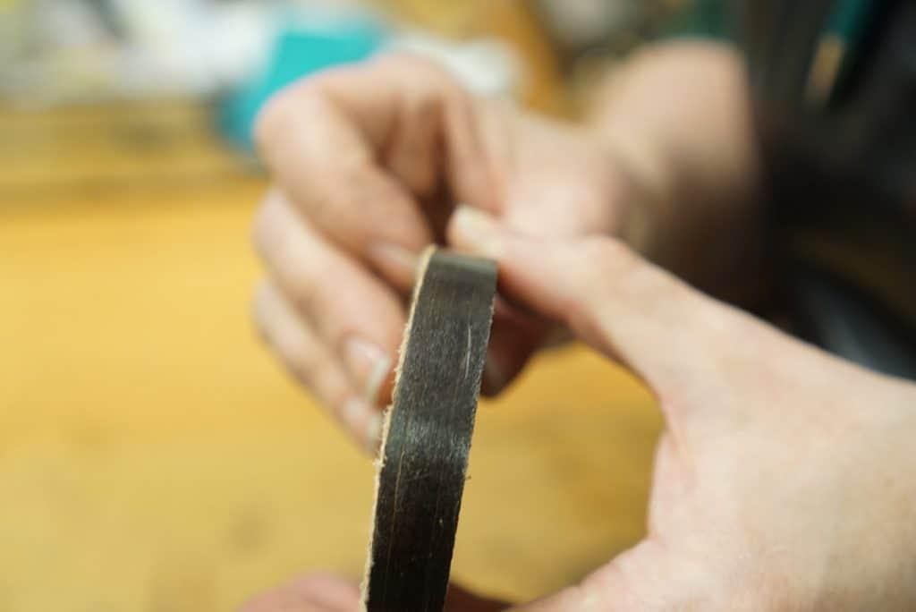 The base of the heel on the Carmina shoe. Carmina's shoe had lessnails and more glue than the Loake shoe.