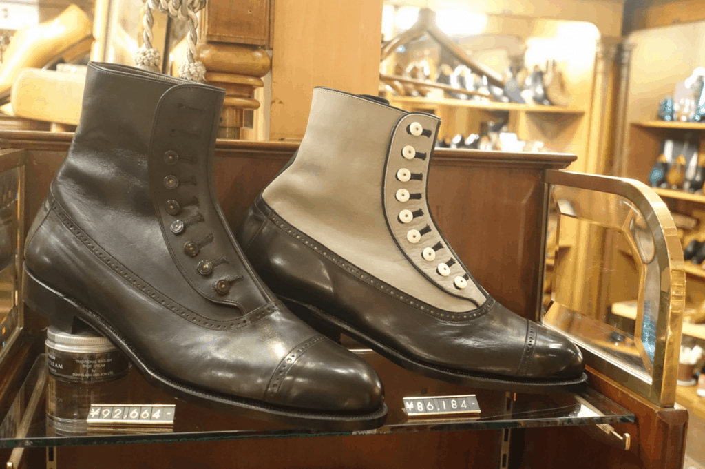 Button boots in Victorian style.