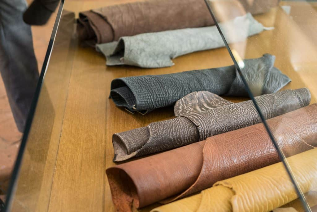 Exotic leather of different kinds.
