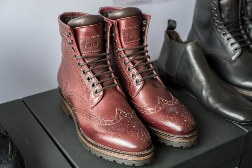 Substantial wingtip in a variant of their reddish-cordovan leather.