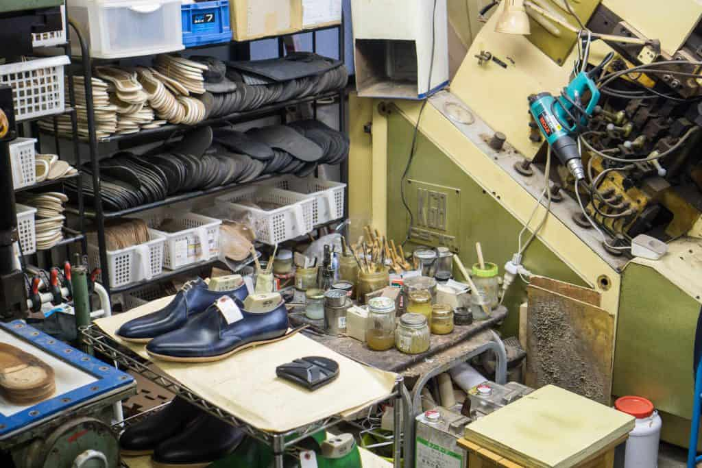 One of several work stations in the workshop.