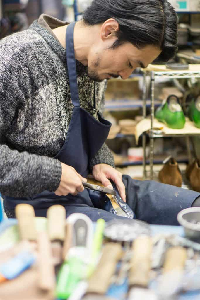 Lasting is made by hand.
